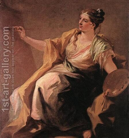 Allegory of Painting c. 1730 by Giovanni Antonio Pellegrini - Reproduction Oil Painting