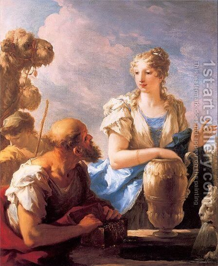 Rebecca at the Well 1708-13 by Giovanni Antonio Pellegrini - Reproduction Oil Painting
