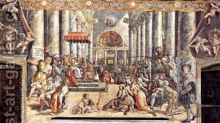 The Donation of Constantine by Giovanni Francesco Penni - Reproduction Oil Painting