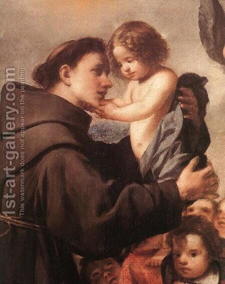 St Anthony of Padua with Christ Child (detail) by Antonio de Pereda - Reproduction Oil Painting