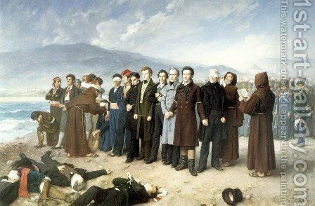 The Execution of Torrijos and his Companions 1886-88 by Antonio Gisbert Perez - Reproduction Oil Painting