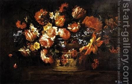 Basket of Flowers 1675-85 by Bartolome Perez - Reproduction Oil Painting