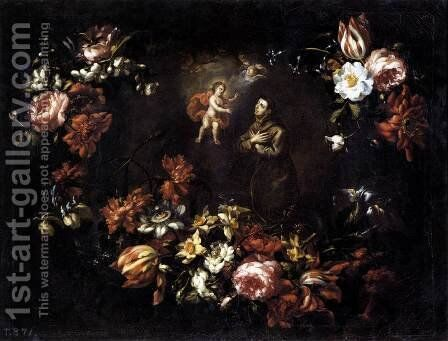Garland of Flowers with St Anthony of Padua 1689 by Bartolome Perez - Reproduction Oil Painting
