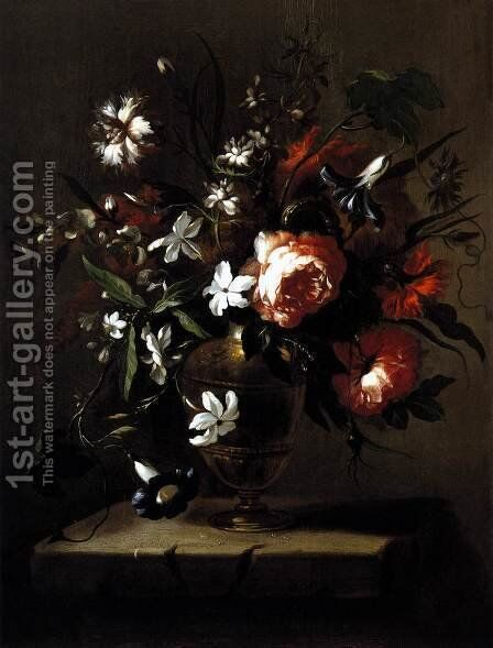 Vase of Flowers c. 1690 by Bartolome Perez - Reproduction Oil Painting