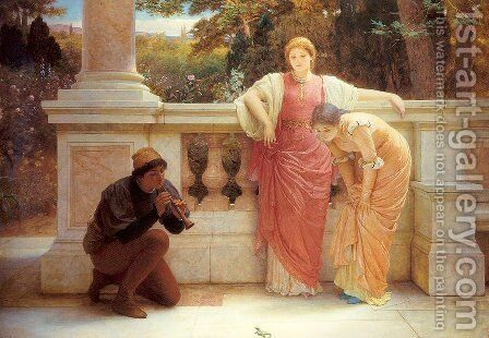 The Green Lizard by Charles E. Perugini - Reproduction Oil Painting