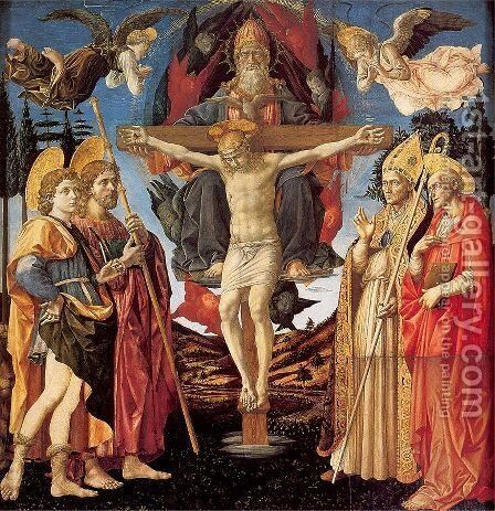 The Trinity and Four Saints 1455-60 by Francesco Pesellino - Reproduction Oil Painting
