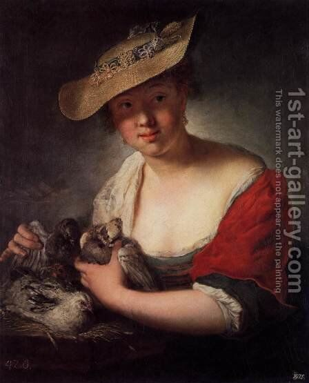 Girl with Pigeons 1728 by Antoine Pesne - Reproduction Oil Painting