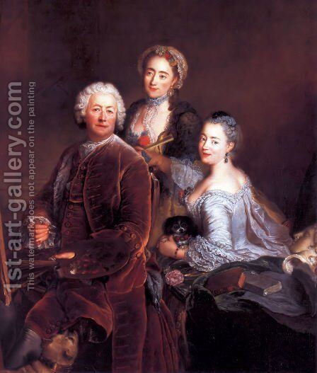 Self-portrait with Daughters 1754 by Antoine Pesne - Reproduction Oil Painting