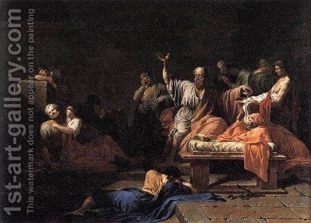The Death of Socrates 1787 by Jean-Francois-Pierre Peyron - Reproduction Oil Painting
