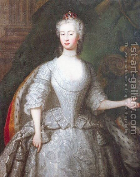 Augusta, Princess of Wales 1736 by Charles Philips - Reproduction Oil Painting