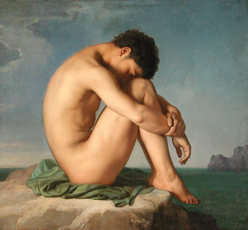 Jean Hippolyte Flandrin, Jeune homme assis au bord de la mer (Young Man Sitting by the Seashore), 1835-6
