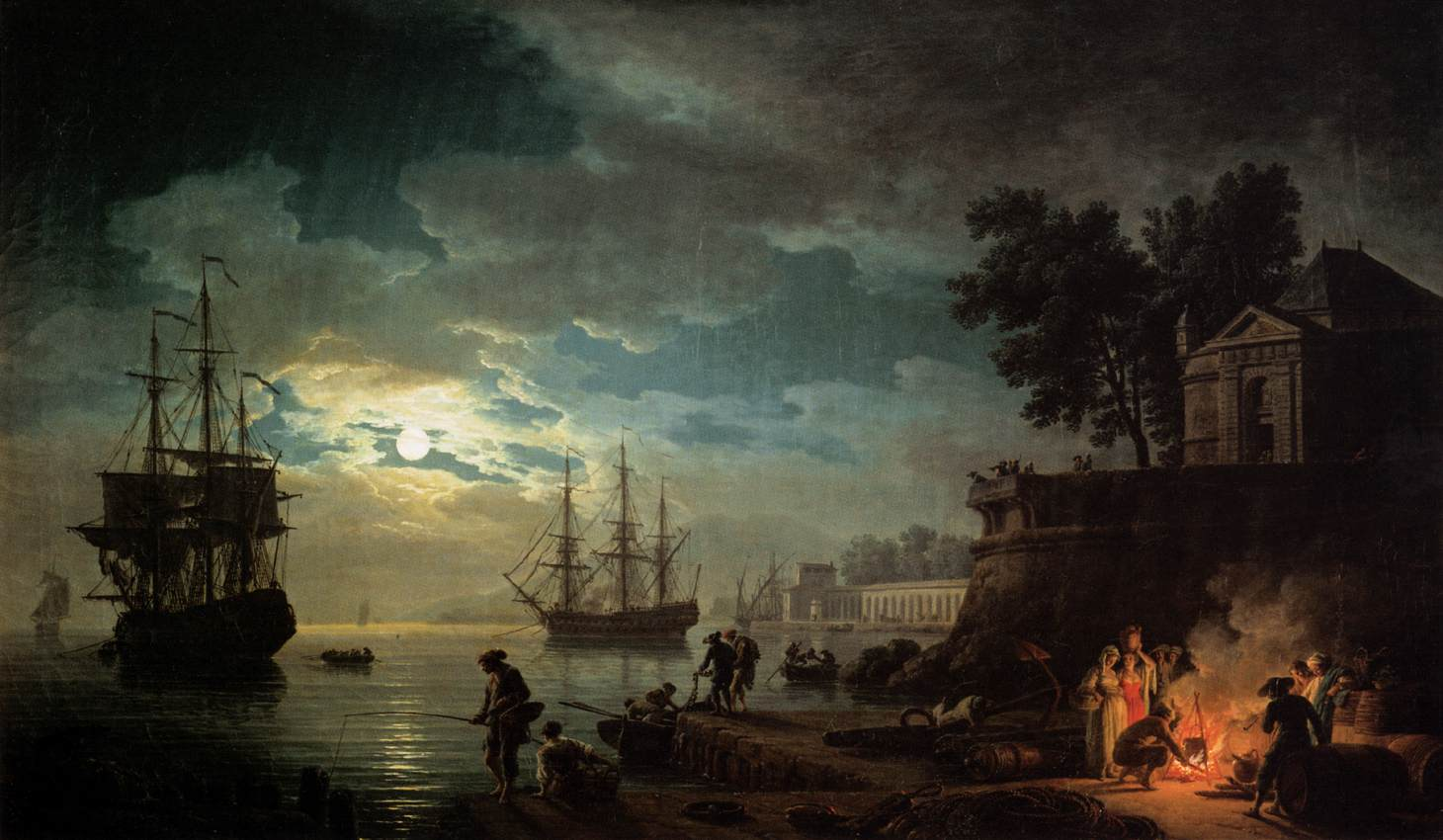 Claude-Joseph Vernet, Night A Port in the Moonlight, 1748