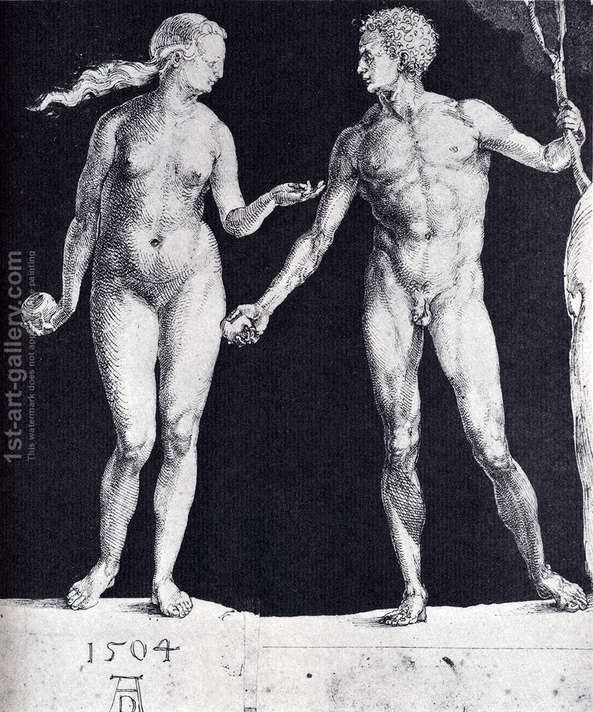Idealistic Male And Female Figures (or Adam And Eve) Painting by Albrecht  Durer... | 1st Art Gallery