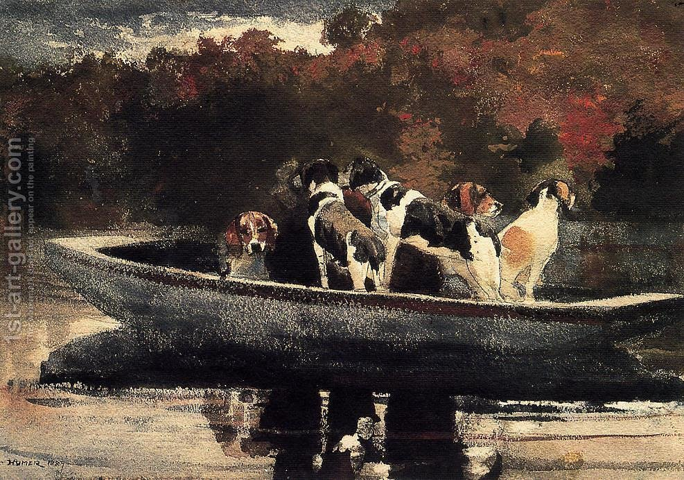 Dogs in a boat winslow homer reproduction 1st art gallery for Hunt and fish club nyc