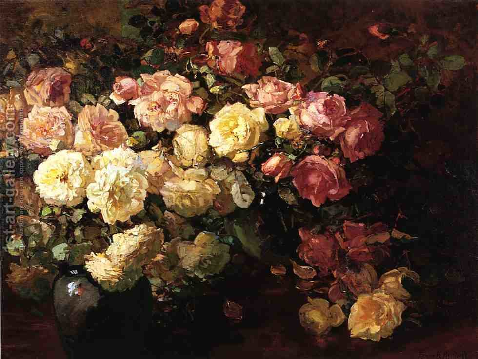 Still Life with White and Pink Roses Franz Bischoff