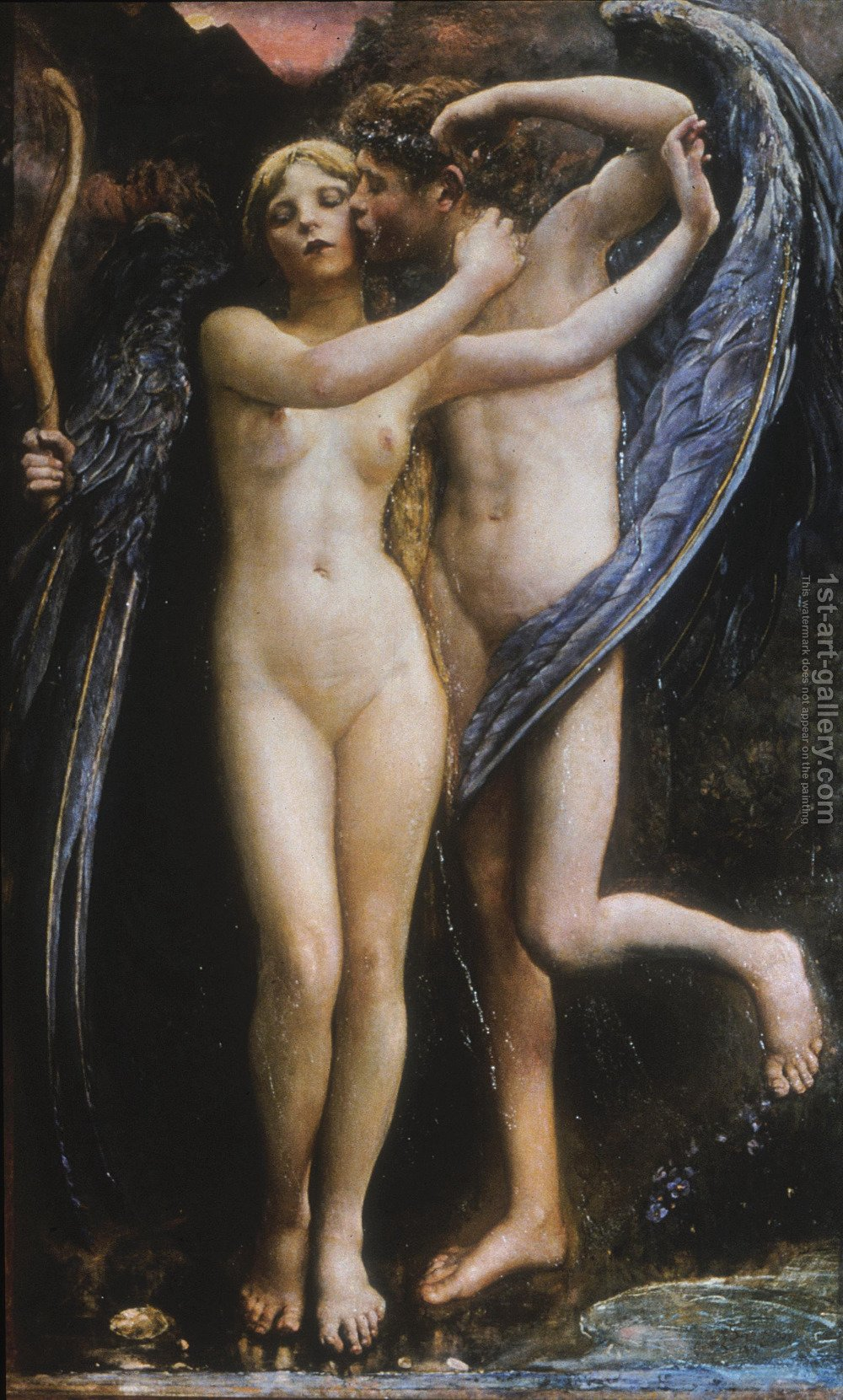 cupid and psyche painting by annie louise swynnerton reproduction
