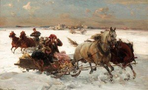 Reproduction oil paintings - Alfred Wierusz-Kowalski - Sleigh Ride
