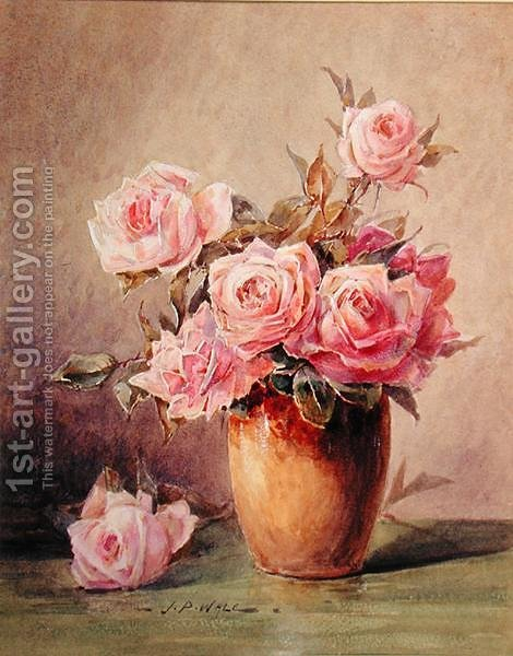 Pink Roses In A Yellow Vase John Porter Wale Reproduction 1st Art