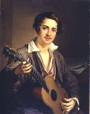 Neo-Classical painting reproductions: The Guitar Player: Portrait of the Virtuoso Guitarist Vladimir Ivanovich Morkov 1803-64 1839