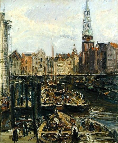 floating market on a canal in hamburg 1905 max slevogt oil painting reproductions. Black Bedroom Furniture Sets. Home Design Ideas
