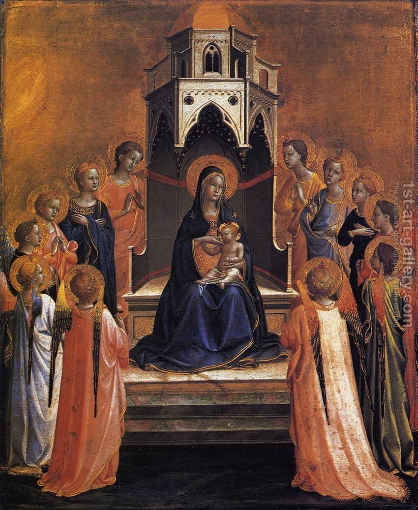Virgin and Child Enthroned with Twelve Angels Painting by ...