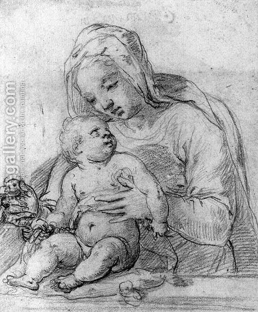 michelangelo drawing madonna and child 1525 - 512×620