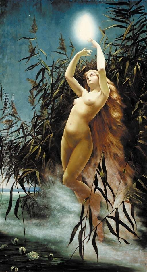 a water nymph desporting amongst the reeds in the moonlight painting