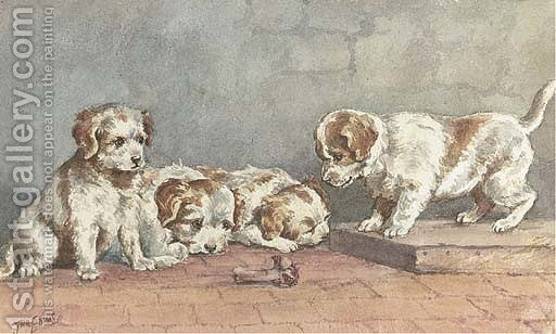 Puppies On A Step Painting By John Emms Reproduction 1st Art Gallery