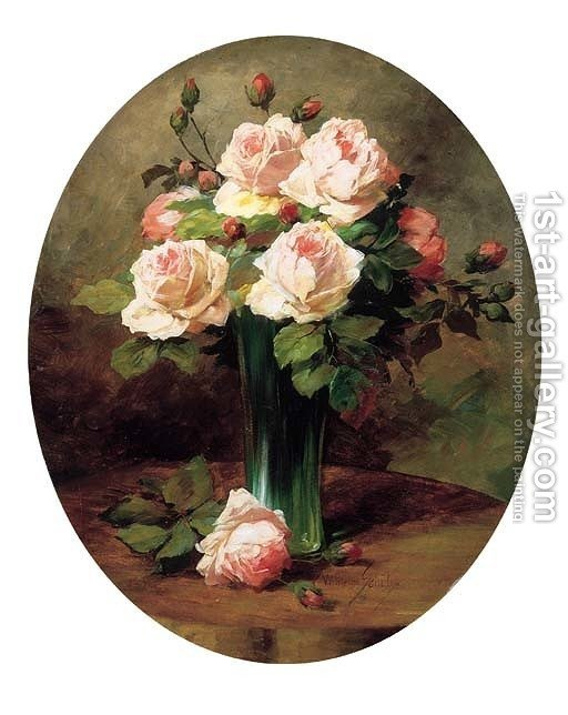 Pink Roses In A Vase Wilhelm Schutze Reproduction 1st Art Gallery