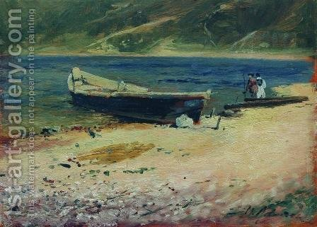 Boat on the coast by Isaak Ilyich Levitan - Reproduction Oil Painting