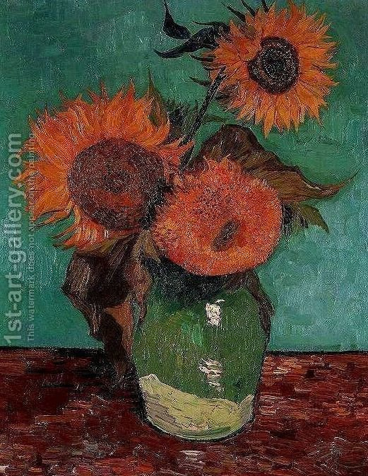 Three Sunflowers In A Vase Vincent Van Gogh Reproduction 1st Art