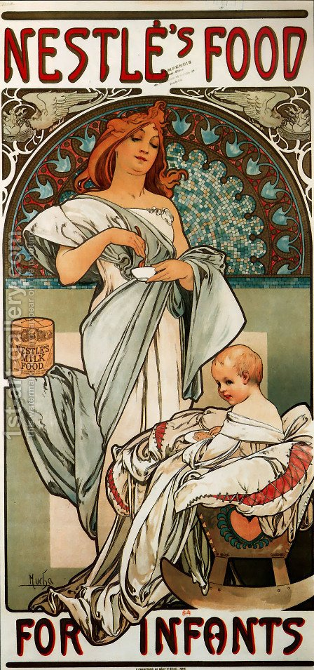 Nestles Food For Infants by Alphonse Maria Mucha - Reproduction Oil Painting