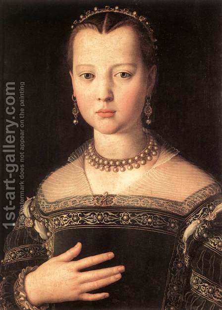 Portrait of Maria de' Medici 1551 by Agnolo Bronzino - Reproduction Oil Painting